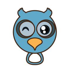 Cute owl face kawaii style vector