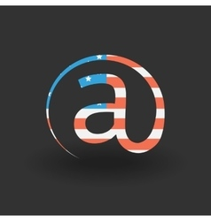 Email icon with usa flag texture vector