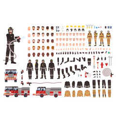 firefighter creation set or constructor vector image vector image