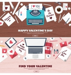 Flat background with typewriter love hearts vector