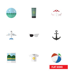 Flat icon beach set of sphere moisturizer vector