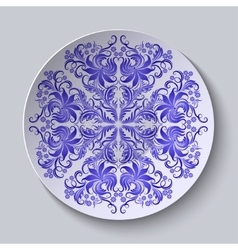 Floral circular plate for design vector
