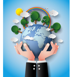 Green eco earth and hand vector