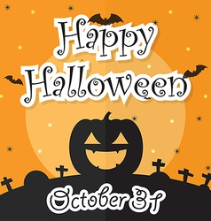Happy halloween night background with moon bat p vector