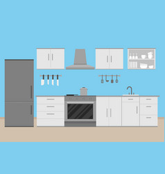Interior kitchen room design with kitchenware and vector