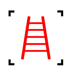 ladder sign red icon inside vector image