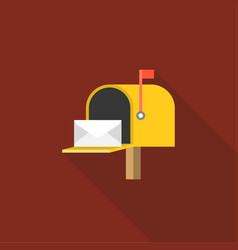 Letter inside open yellow mail box post vector