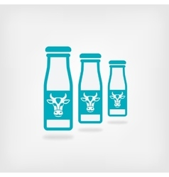 milk bottles with cow label vector image