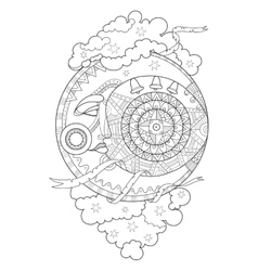 Moon with face coloring book vector