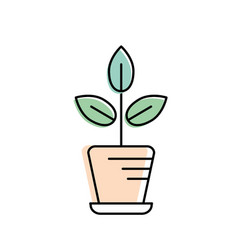 natural plant with leaves inside flowerpot vector image vector image