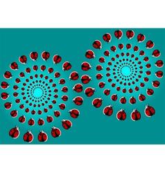 optical with flying ladybugs vector image