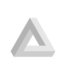 Penrose triangle icon in grey geometric 3d object vector