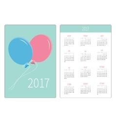 Pocket calendar 2017 year Week starts Sunday vector image vector image