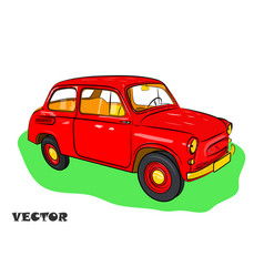 red car for travel on green grass vector image
