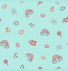 Seamless cartoon pattern fish fruits vector