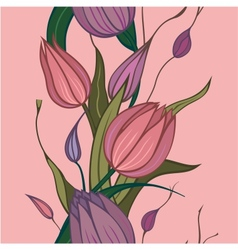 seamless pink flowers vector image