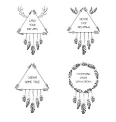 set of hand drawn boho style design with arrow vector image
