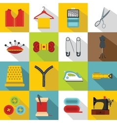Sewing icons set flat style vector