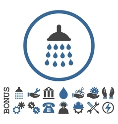 Shower Flat Rounded Icon With Bonus vector image