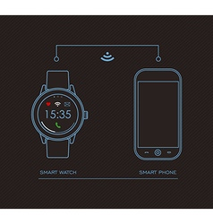 Smart watch and mobile phone concept design vector