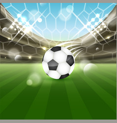 soccer stadium with a ball on the grass and vector image vector image