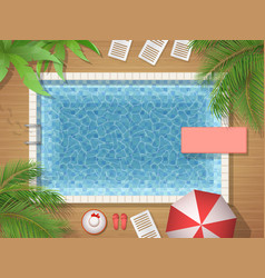 swimming pool and palm top view vector image