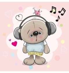 Teddy Bear with headphones vector image