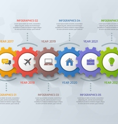 Timeline business infographic template with gears vector