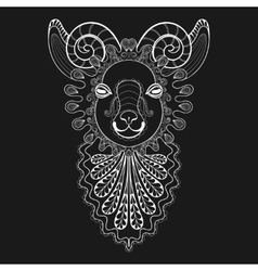 zentangle Ram Head white Goat vector image