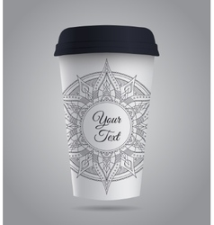 Paper coffee or tea cup with mandala vector
