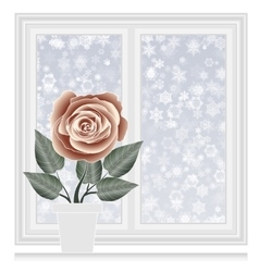 Save heat postcard closed window with snowflakes vector