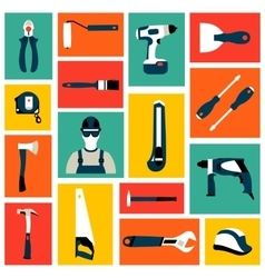 Set collection icons of builder equipment vector