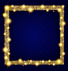 square gold frame with lights on a dark background vector image