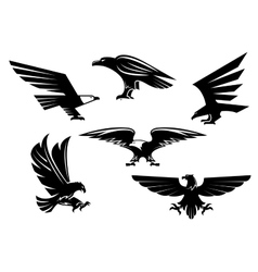 Eagle isolated icons heraldic bird emblems vector