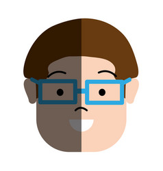 Happy man with hairstyle and glasses vector