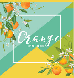 Tropical orange fruits and flowers summer vector