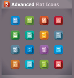 Flat file type icons vector