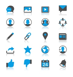 Social network flat with reflection icons vector image
