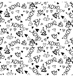 Pattern with hand painted hearts vector image