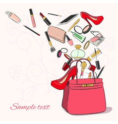 Woman bag with cosmetics vector