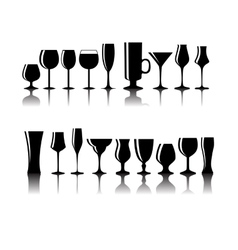 Set of Black Alcoholic Glass Silhouette vector image