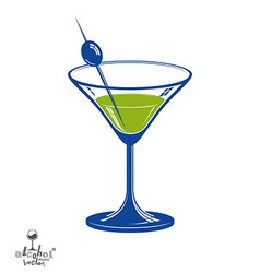 Realistic 3d martini glass with olive berry vector