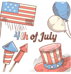 4th of july usa independence day hand drawn design vector image