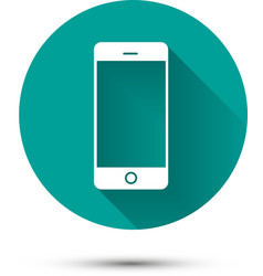 Smartphone white icon on green background with vector