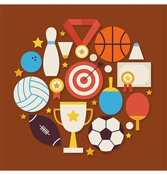 Sport recreation and competion flat design circle vector