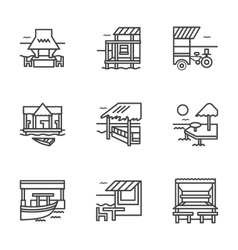 Flat line bungalow icons vector
