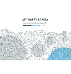 Family doodle website template design vector