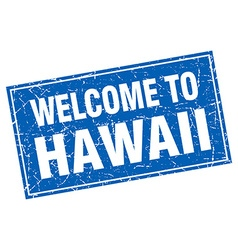 Hawaii blue square grunge welcome to stamp vector image
