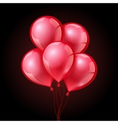 Festive red balloons on isolated plaid transparent vector