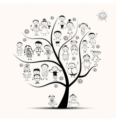 Family tree relatives people sketch vector